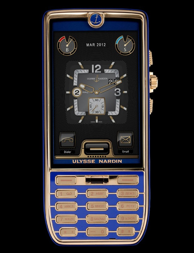 """Chairman"" rose gold and blue cell phone by Ulysse Nardin"