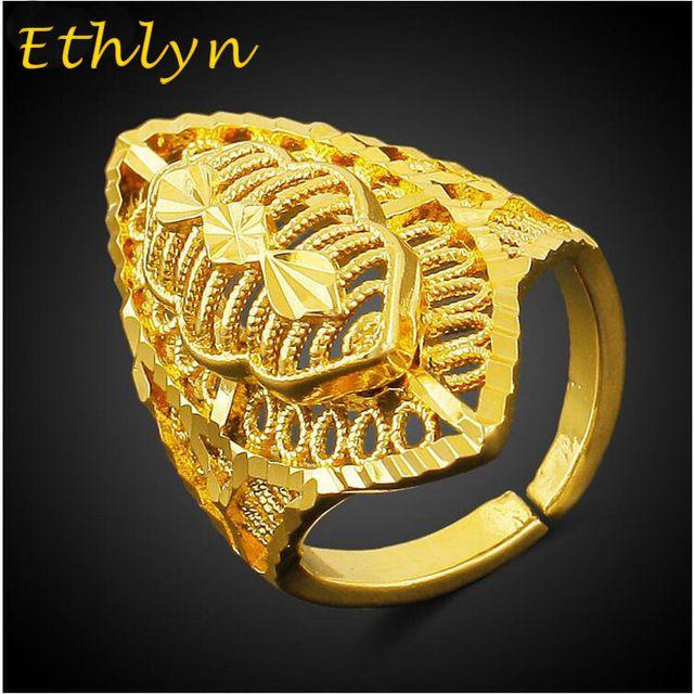 Etíope Ethlyn tamanho Livre projeto mulheres nupcial jóias 18 k amarelo banhado a ouro anel de casamento das mulheres da moda