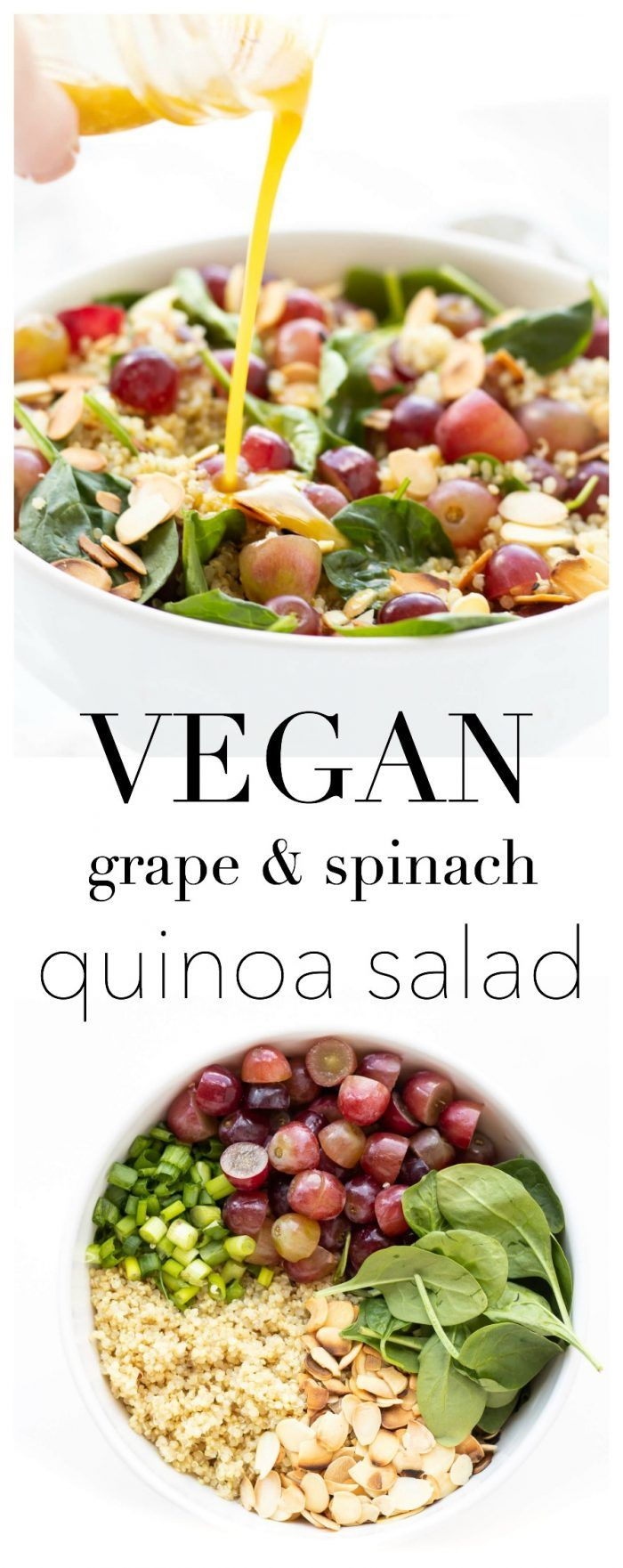 Toasted Almond, Grape & Spinach Quinoa Salad