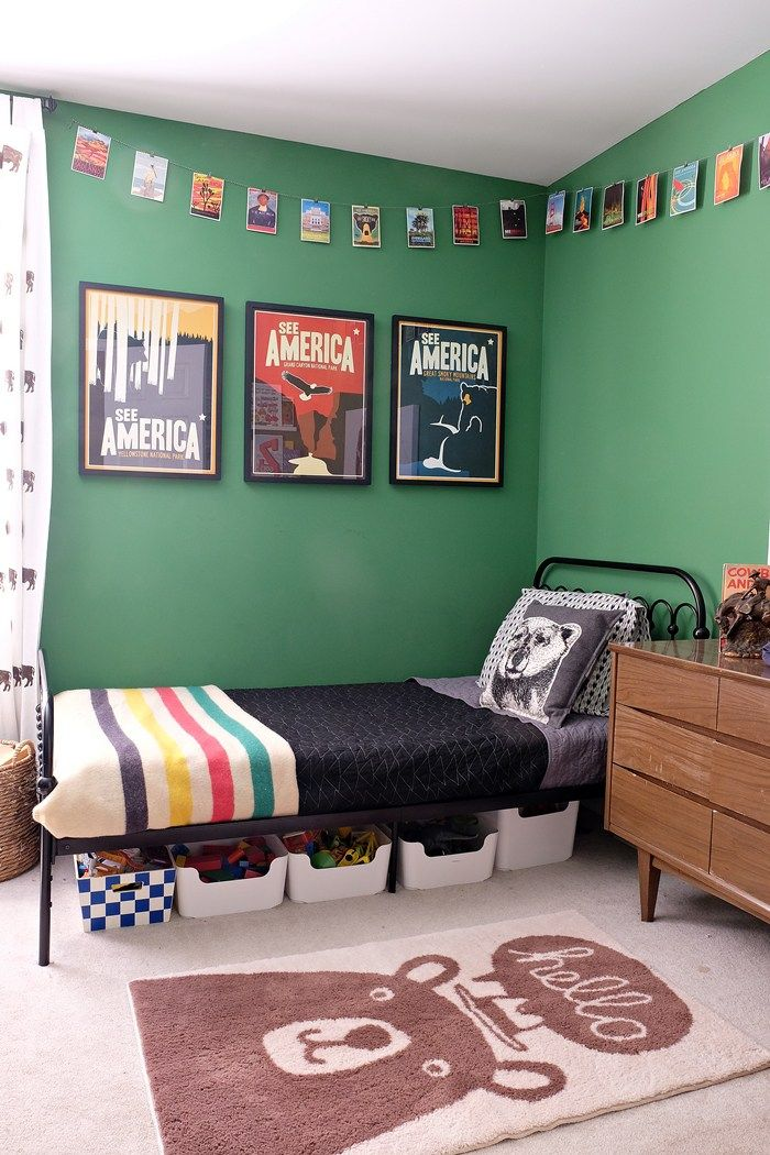 National Parks themed little boy's room with prints from the See America Project and bear rug from Target's Pillowfort