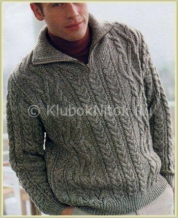Серый пуловер с косами | Вязание мужское | Вязание спицами и крючком. Схемы вязания.