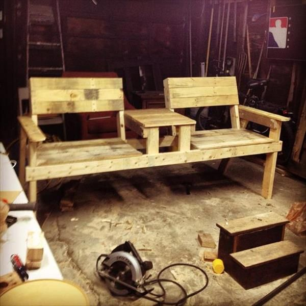 recycled pallet 2 seated chair bench
