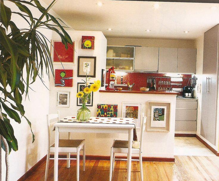 Departamento con divisi n entre cocina y peque o comedor - Decoracion salon comedor ...
