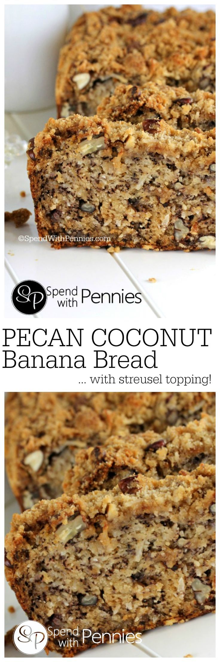 Pecan Coconut Banana Bread Recipe with a streusel topping! If you're looking for the perfect banana bread recipe, this is it!