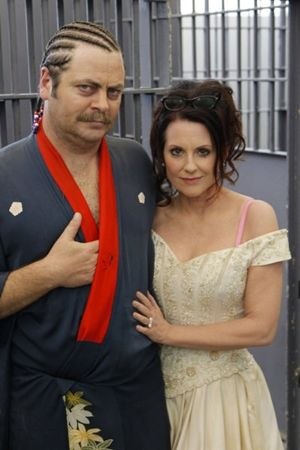 Nick Offerman and Megan Mullally as Ron and Tammy Swanson on Parks and Recreation. I love them!