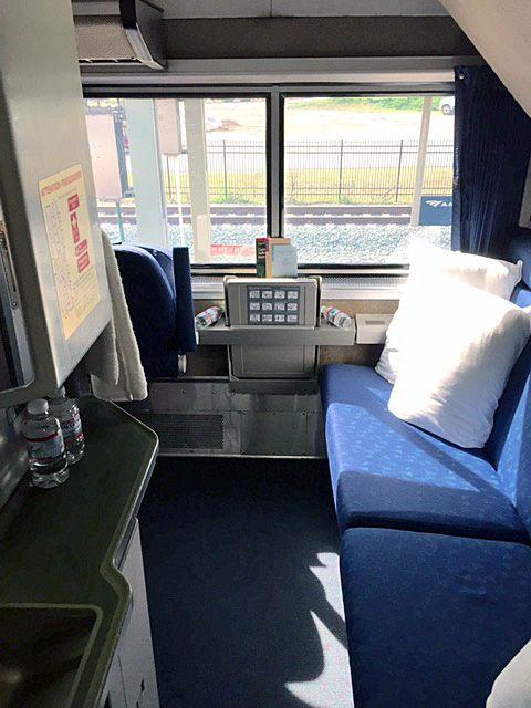Bedroom on Amtrak Superlinerbathroomshower is around