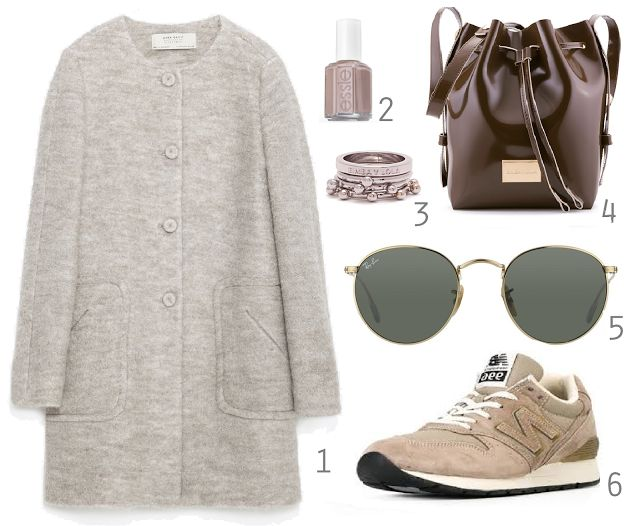 1 - Zara | 2 - Essie Jazz | 3 and 4 - Bimba Y Lola | 5 - Ray Ban Round | 6 - New Balance