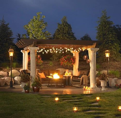 Hanging Outdoor Lights On Pergola: Lighted Pergola With Privacy Panels