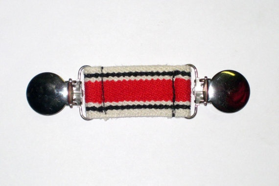 ELASTIC BELT with Metal Clips for Children Toddlers / Waistband Tightener / Red White Black Stripe by SweetSparrowDesign, $6.00