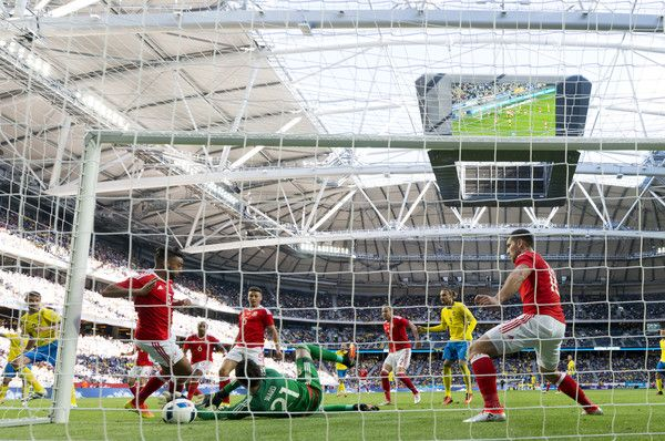 Mikael Lustig of Sweden scores 2-0 during the international friendly between Sweden and Wales at Friends Arena on June 5, 2016 in Solna, Sweden.