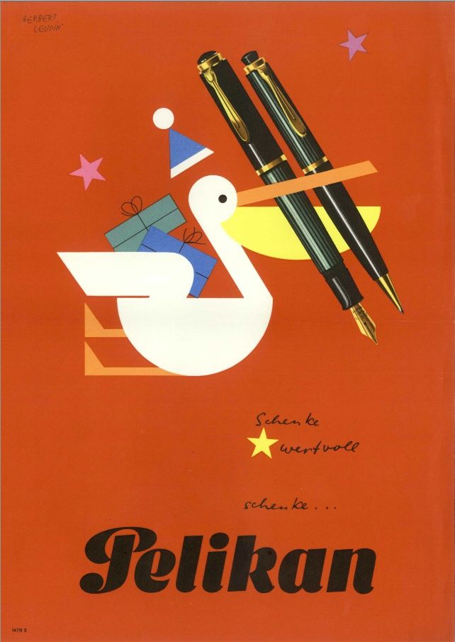 Herbert Leupin, poster for Pelikan fountain pen, 1950s.