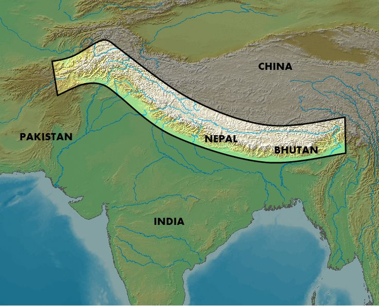 The general location of the Himalayas mountain-range.   Countries List: ---  Afghanistan, Bhutan, Burma, China, India  Nepal, Pakistan