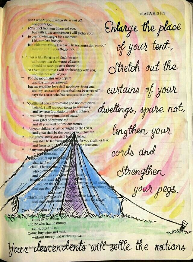 Isaiah 54:2 Bible art journaling by @peggythibodeau www.peggyart.com