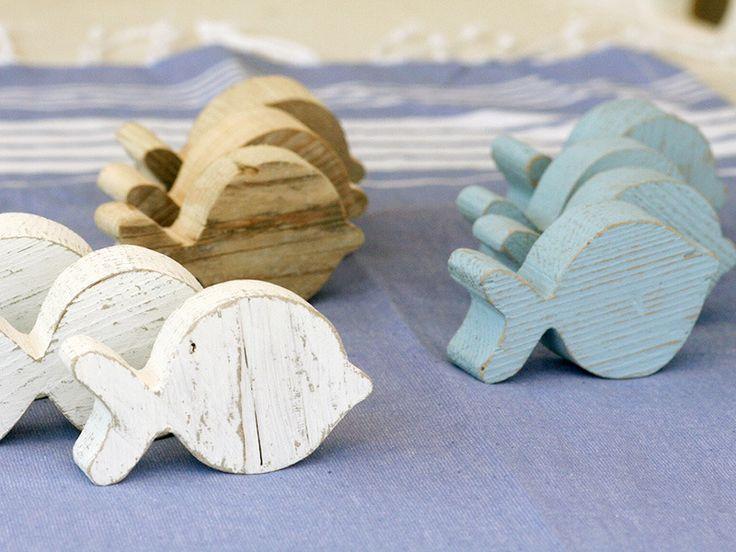 Pesci in legno di recupero - kit da tre : Accessori casa di nuvole-di-legno