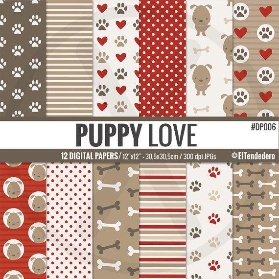 """Digitale papers met honden, botten en voetafdrukken """"Puppy love""""."""
