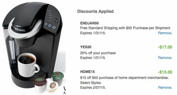 Kohl's: *HOT* Keurig K45 B40 Elite Coffee Brewer Only $57.99 (After Kohl's Cash!) – Hip2Save Add this Keurig K45 B40 Elite Coffee Brewer to your cart for $99.99 (reg. $149) Enter the promo code HOME15 ($15 off a $50 home department purchase) Enter the promo code YES20 (20% off) Enter the promo code ENDJAN50 (Free shipping on $50+ orders) PAY $67.99 Get back $10 in Kohl's Cash (for spending $50) Final cost $57.99 + FREE shipping!