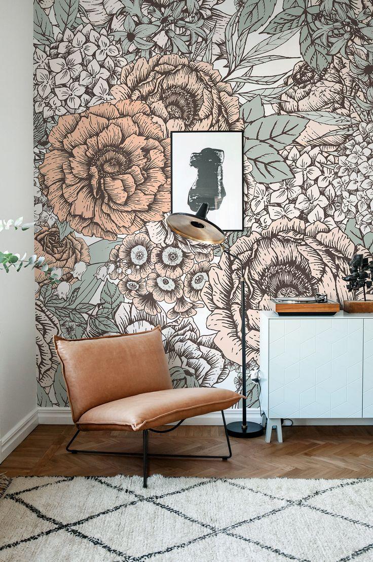 Vintage Floral Wallpaper, Wall Mural, Floral Home Décor
