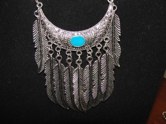 Necklace 9 Antique Silver Feathers Faux Turquoise Tribal #Thunderella