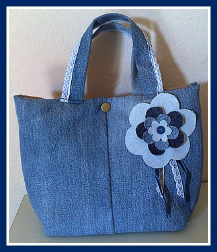 denim tote with flower