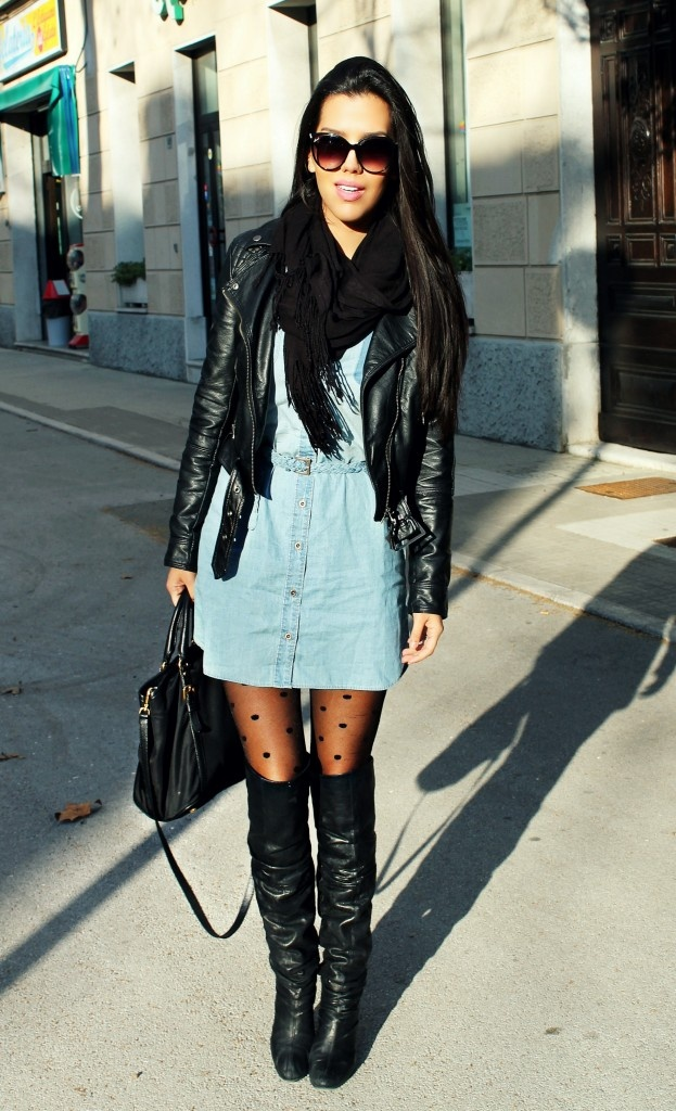 denim dress with a fall winter flare! | Fall Into These ...