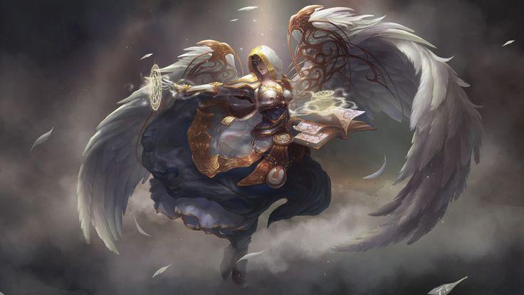 angel, armor, art, book, fantasy, fly, sword, weapons, wings