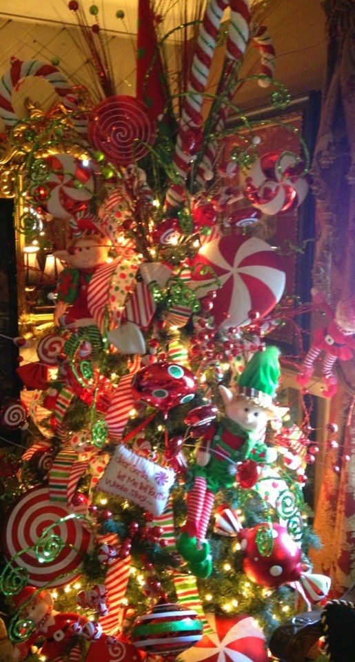 Candy Themed Xmas Trees | Candy land themed tree in my living room. Easy and ... | Christmas i ...