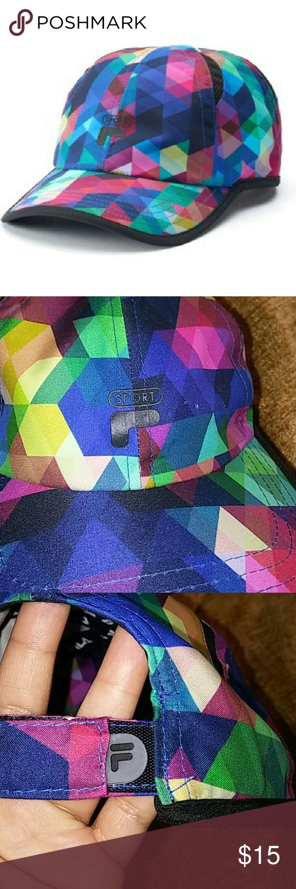 SALE FILA Hat Sport FILA hat. Multicolored geometric prism design. Snapback adjustable. Polyester. Fresh and light. One size. Perfect for outdoor workouts. NWOT Fila Accessories Hats