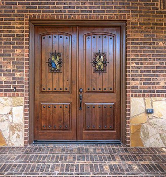 Knotty Alder Double Entry Door Arch Top 6ft X 8ft Ex 1341 Ksr Door And Mill Comany Double Entry Doors Garage Door Design Double Front Entry Doors