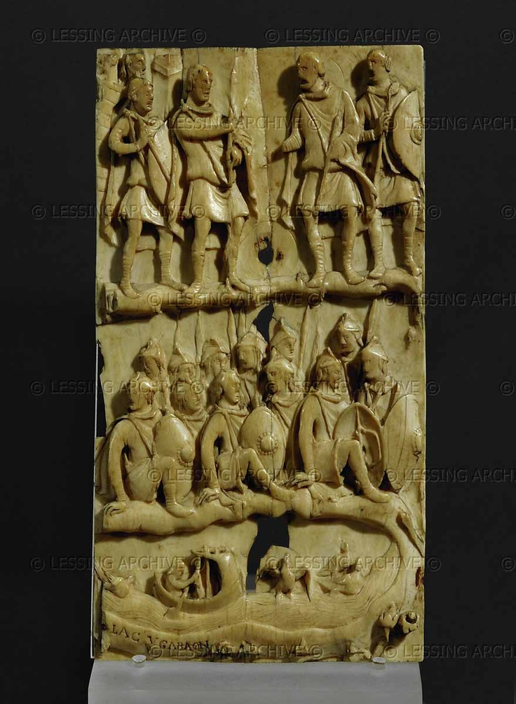 Caroligian ivory bookcover 9th  Fragment of a bookbinding,around 870,from the treasury of Sr.Denis  Museo del Louvre