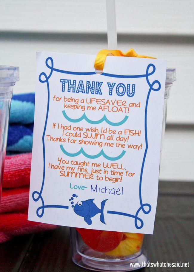 Swim Teacher Thank You Gift Free Printable at thatswhatchesaid.net