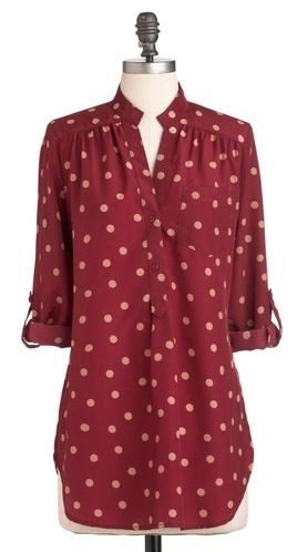 oooh. Polka dots in a different color pallet! I think this would be great with denim pants.