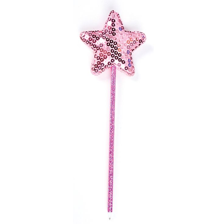 fairy wand pen in pink glitter with pink sequined star at the top this fairy wand pen has. Black Bedroom Furniture Sets. Home Design Ideas