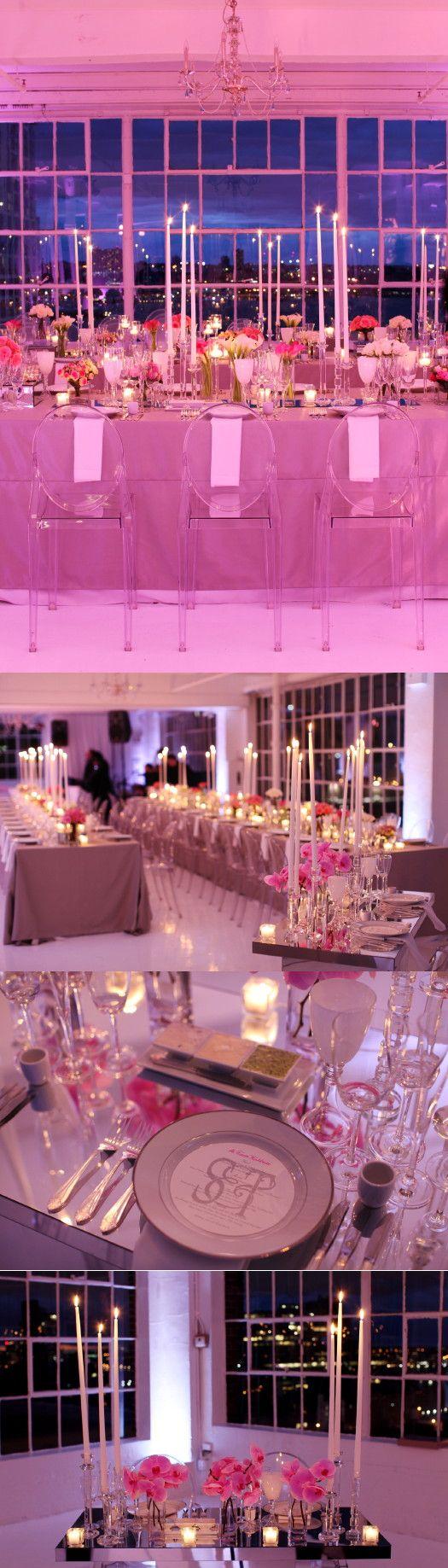 Modern loft wedding set in shades of pink! Photo by Karen Wise.