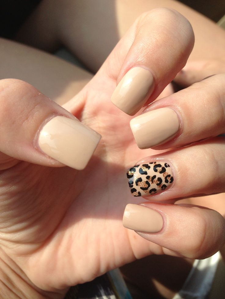 Nude & Cheetah nails