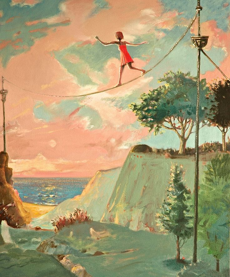 """TIGHTROPE WALKE—oil on canvas, 28"""" x 24"""". Young, talented, moving forward in a risky manner. Sold."""