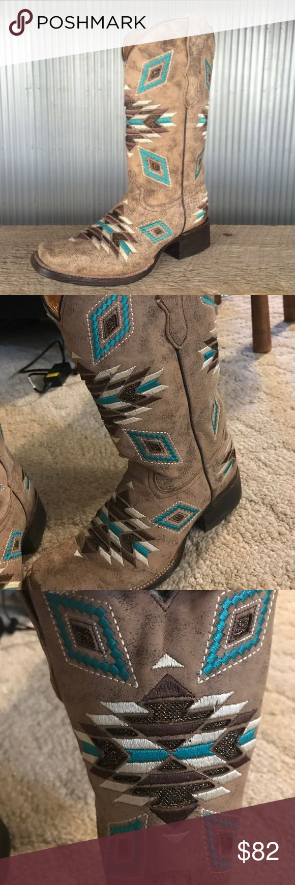 Corral Distressed Brown Aztec Boot *PRICE FIRM* Corral Distressed Brown Aztec Square Toe Teen Boot. Style# 1099. For the finest western cowboy boots, the brand to trust is Corral Boots. These handcrafted boots are made with high quality exotic skins and leather by the most experienced craftsmen in Mexico. These girl's cowhide leather boots feature a 9in shaft height, and 9in approximate circumference. Corral Boots will likely become one of your new favorite brands of cowboy boots! Cowhide…