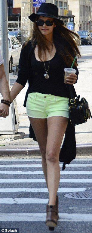 Loving the neon shorts!  Nina Dobrev