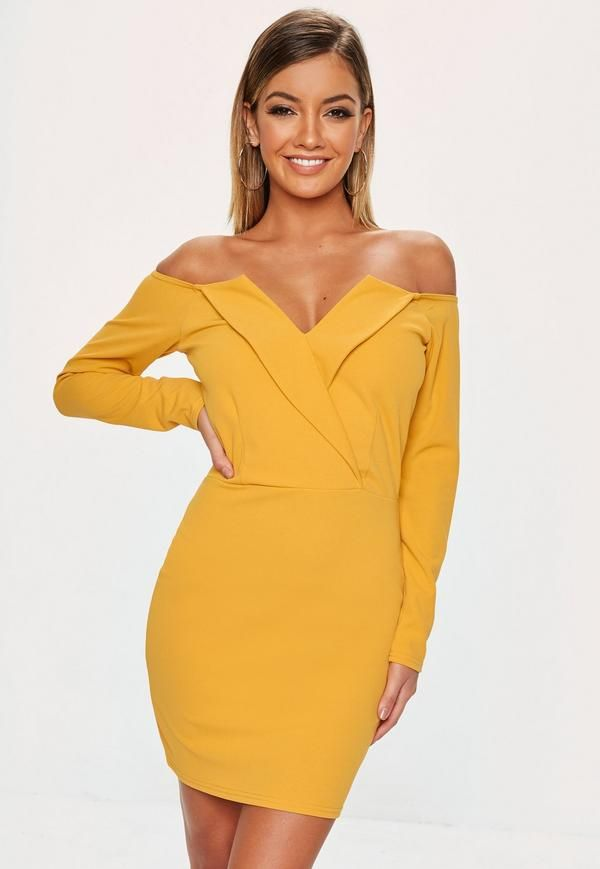 dbf0c6d9692a Yellow Plunge Kimono Sleeve Bodycon Mini Dress in 2019