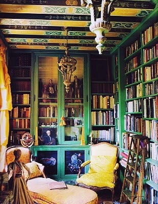 bookcases and lots of yellow