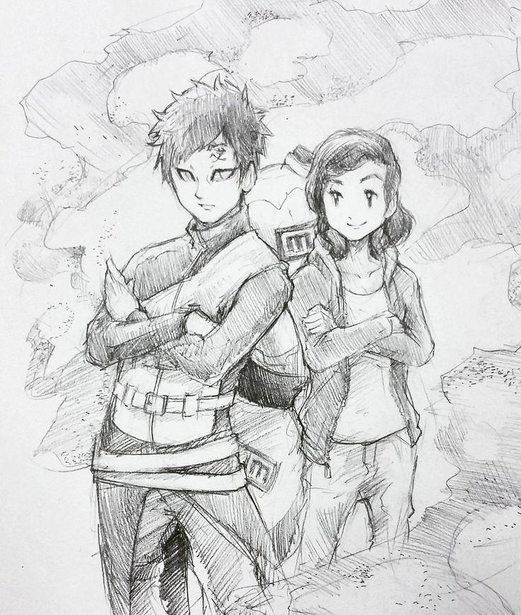 She wanted to be drawn beside #Gaara 🙂. #pencil #sketch #art #naruto