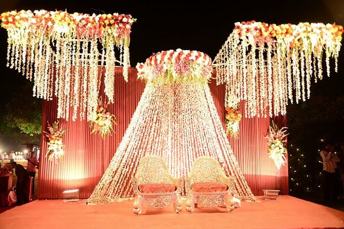 crystal and flower head table, sweetheart table for wedding reception, The Stage Indian weddings
