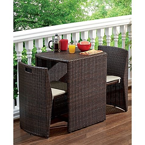 The 3-Piece Steel Wicker Outdoor Dining Set is the ideal bistro set for a small patio or balcony. It would also look great in a breakfast nook. Crafted of all-weather steel wicker with a bronze finish and removable cushions.