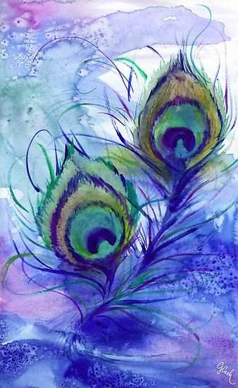 Peacock Feathers ~ by Genevieve Cseh, watercolor