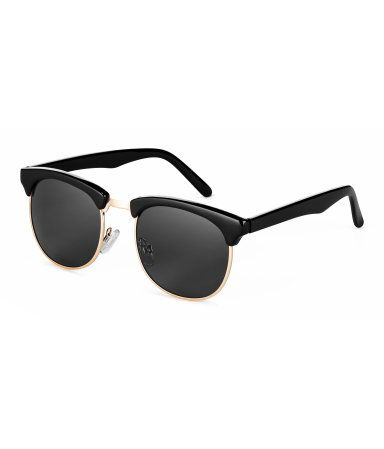 Black. Sunglasses with plastic and metal frames and tinted, UV-protective lenses.