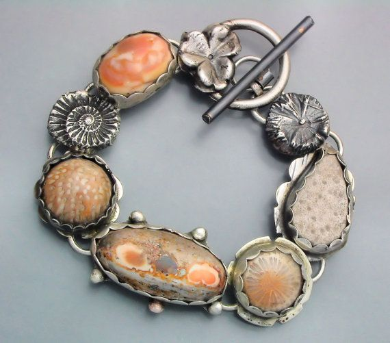 Jelly Opal and Fossil Bracelet Bracelet.