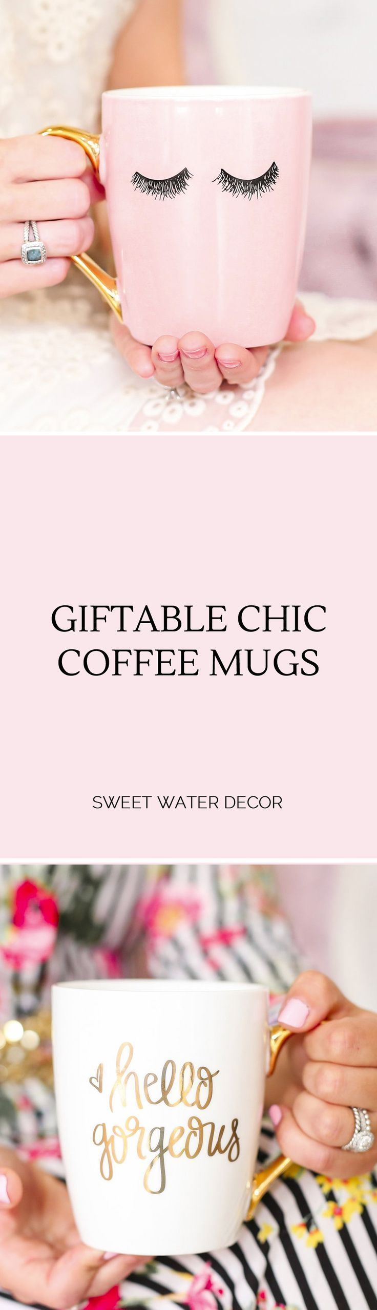 Chic and giftable coffee mugs by Sweet Water Decor