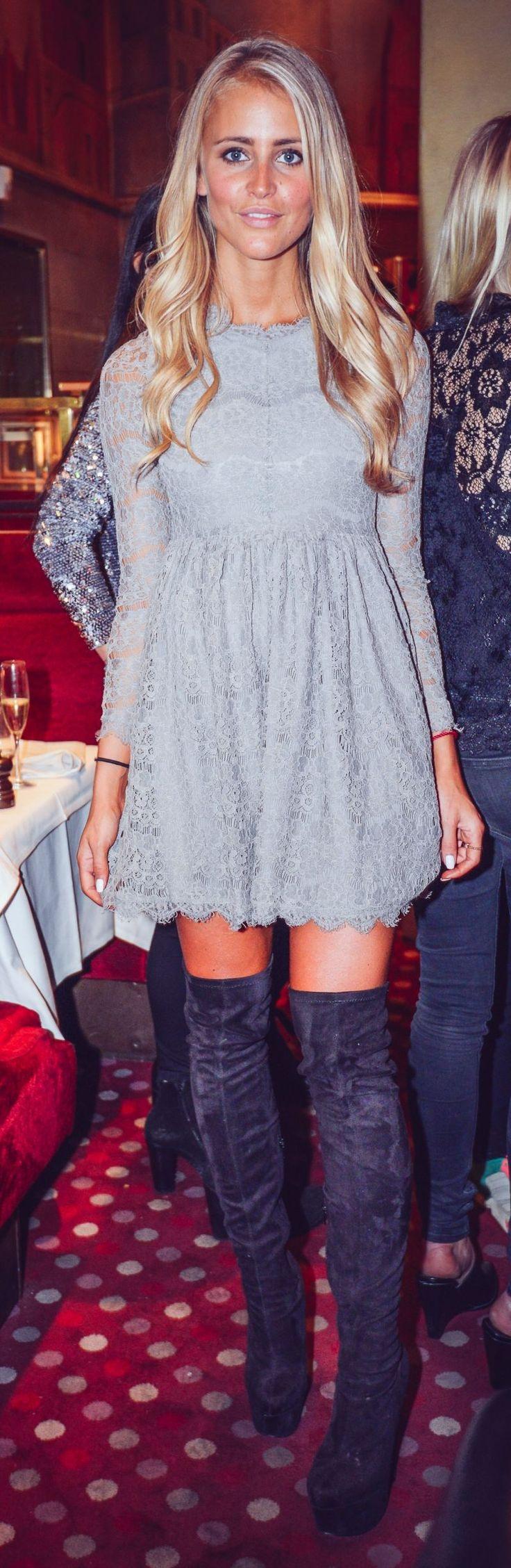 Grey Lace Skater Dress