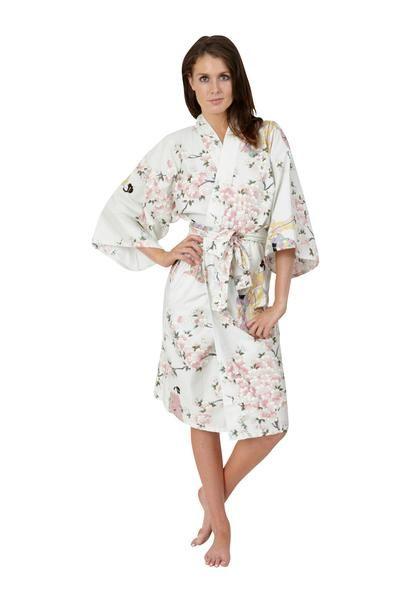 a163c0364 Womens Short Cotton Kimono Dressing Gown Japanese | WOMENS KIMONOS ...