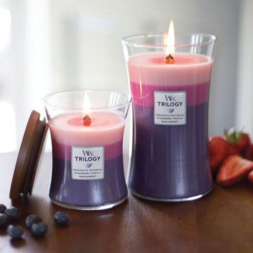 3 couches 3 parfums pour cette bougie Berry Sorbet trilogy WoodWick