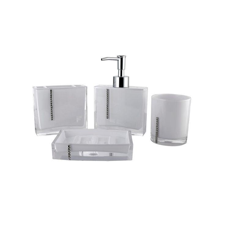 Crystal 4-piece Bathroom Accessories Set, White